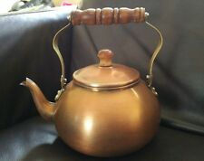 VINTAGE COPPER TEA KETTLE POT  - WOOD AND BRASS HANDLE