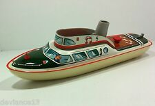 RARE 60's TIPPCO TCO WESTERN GERMANY TIN LITHO WIND UP POLICE MOTOR BOAT MINT