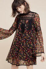 $528 NWT ANNA SUI Size 8 ANTHROPOLOGIE Beckett SILK Dress Black Floral LACE BOHO