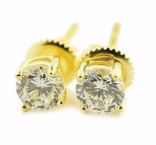 Round Stud Earrings Yellow Gold Finish Screw Back 5mm 1ct Simulated Diamond 925