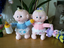 CUTE HAND KNIT BABY BOY OR GIRL WITH TOY OR BOTTLE