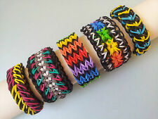 Lot of 5 Rainbow Loom Bracelets - Quadruple Fishtail, Galaxy, Starburst etc..