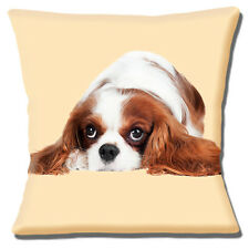 "CUTE TAN BROWN WHITE CAVALIER KING CHARLES SPANIEL PUP 16"" Pillow Cushion Cover"