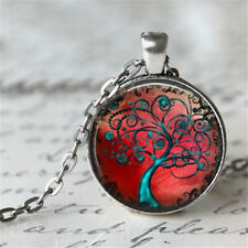 1pcs Vintage Tree of Life Cabochon Tibetan silver Glass Chain Pendant Necklace b