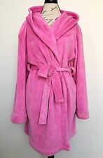 VICTORIAS SECRET PINK ROCK ROYALTY Plush Short Fleece Robe M L XL Womens Hooded