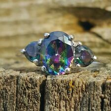 .925 Sterling Silver Ring size 6 CZ HEART Rainbow Midi Ladies PROMISE Mystic New
