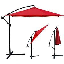 Red Patio Umbrella Offset 10' Hanging Umbrella Outdoor Market Umbrella D10