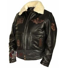 Men's Jet Fighter Bomber Navy Air Force Pilot Winter Real Fur Collar, Jacket