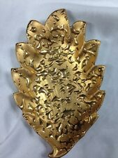 Vintage Hand Decorated 22 K. Weeping-Bright Gold Candy Dish Leaf