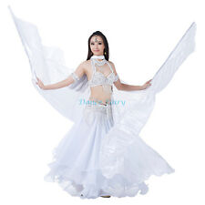 Dance Fairy Elegant Simulated silk big belly dance Isis wings with sticks,White