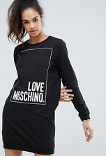 Love MOSCHINO cotton shirt dress black casual full sleeves Large L