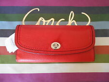 NWT COACH ORANGE RED SOFT PEBBLED LEATHER FLAP TURNLOCK WALLET CLUTCH $238 NICE!