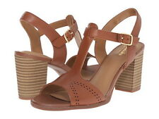 Brand New Clarks Ciera Glass Nutmeg Leather Brown Heel sandal Sz 8US,39EUR