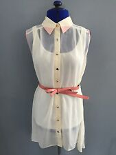 NWT VALLEYGIRL Korea Ivory Bow Belt Sleeveless Accordion Back Hi-low Dress Sz M