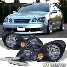 Black For 98-05 Lexus GS300 GS400 GS430 Headlights Headlamps+Smd Bumper Fog Lamp
