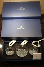 NEW *Retired* Swarovski Crystal 2015 Set of 3 BALL Annual Christmas Ornament Set