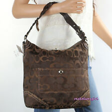 NWT Coach Chelsea Signature Optic Large Hobo Shoulder Bag 10991 Brown NEW RARE