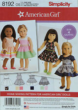 "Simplicity 8192 Sewing PATTERN for 18"" AMERICAN GIRL DOLL CLOTHES Sew 4 Outfits"