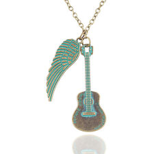 1pc Vintage Gitar Necklace Engraved Wings Chain Necklaces Jewelry Decoration