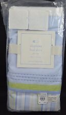 "Pottery Barn Baby Elephant Bed Skirt Light Blue Green Crib 11"" Drop"
