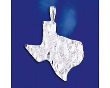 Sterling Silver Texas State Pendant Diamond Cut Lone Star Map Charm 925 Italy