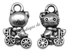 LOT DE 10 BRELOQUES HELLO KITTY METAL ARGENTE - CREATION BIJOUX PERLES CHARMS