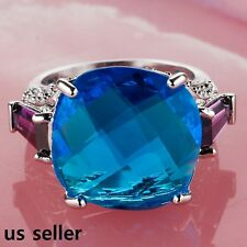 Huge 17 x 17 mm Round Blue Sapphire Stone Solitaire Silver Lady's Ring Size 8