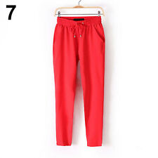 Women Solid Color Drawstring Elastic Waist Chiffon Trousers Harem Pants Sweet