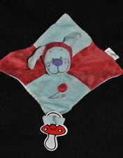 Doudou Chien Plat TEX Baby Vichy Carreaux Rouge Bleu Ballon Attache Tétine TTBE