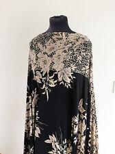 Black/Cafe Floral/Flower Placement Print Stretch Jersey  Dressmaking Fabric