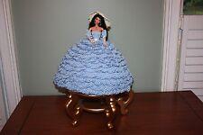 Barbie Crochet Bed Doll Knit Blue Girl's Room Handmade Custom Hand Made