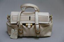 "YVES SAINT LAURENT ""MAIA"" PADLOCK TOTE  YSL HANDBAG  BEIGE LEATHER"