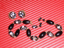 ANTIQUE JAPANESE  BLACK  GLASS BEAD HAND PAINTED JEWELRY  NECKLACE AND EARINGS