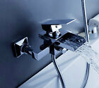 AA801 Contemporary Chrome Wall Mounted Waterfall Tub Faucet with Hand Shower