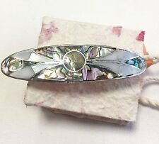 Hair clip Mexico Abalone Mother of Pearl Aztec Design Handmade Fair Trade Gift