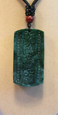Grade A  green jade carved square Chinese traditional pattern  pendant/necklace