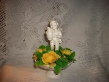 INARCO ANGEL IN FOUNTAIN WITH WATER JUG YELLOW FLOWER PLANTER WHITE BISQUE