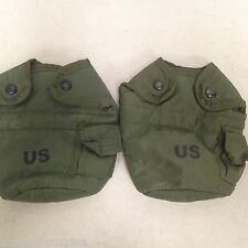 LOT OF 2 USGI GENUINE US Military 1 QT CANTEEN COVER Pouch w/ Alice Clips VGC