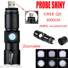 Zoomable 3000LM CREE Q5 LED USB Rechargeable Military Flashlight Torch Camping