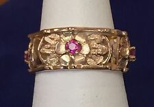 Vintage Ladies 14k Rose Gold Flower Design Ornate Wedding Ring Band With Rubies
