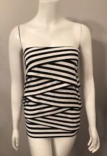 Stunning White House Black Market Striped Tiered Strapless Top Size 2