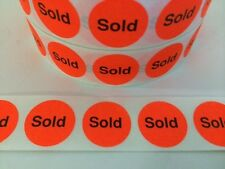 """250 7/8"""" Stickers/labels """"Sold"""" Red Neon Fluorescent Stickers labels Retail Sold"""
