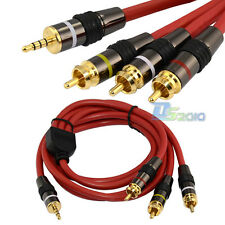 5Ft 1.5m Mini AV 3.5mm plug to 3 RCA male AUX video OFC cable Char