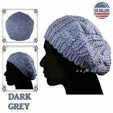 Knitted Beret Crochet Braided Hat Beanie Cap Women Winter DARK GREY US Stock