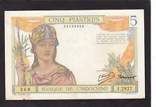 French Indochina 5 Piastres 1946 P-55C  VF+
