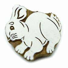 Rabbit Handcarved Wooden Texile Printing Block Decorative Stamp Blockprint
