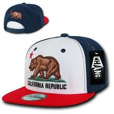 Red White & Blue California Republic Cali Bear Flat Bill Snapback Snap Cap Hat