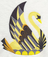 Art Deco Swan EMBROIDERED SET OF 2 BATHROOM HAND TOWELS by laura