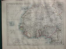 1900 VICTORIAN MAP ~ NORTH WEST AFRICA EUROPEAN POSSESSIONS CAPE VERD CANARY