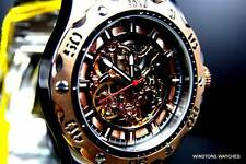 Mens Invicta Specialty Python Mechanical Skeleton Exhibition Rose Gold Watch New